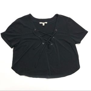 Express Crop Top lace up front Size Medium Black